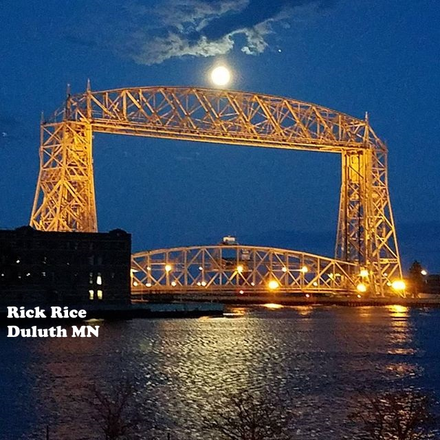 Duluth MN Aerial Lift Bridge at Night Image Rick Rice Duluth MN