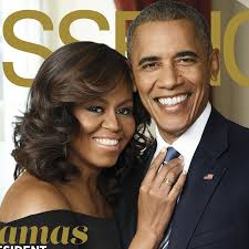 Barack Obama and Michelle Obama in a casual close up pose