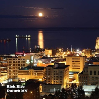 Canal Park in Full Moon Image by Rick Rice
