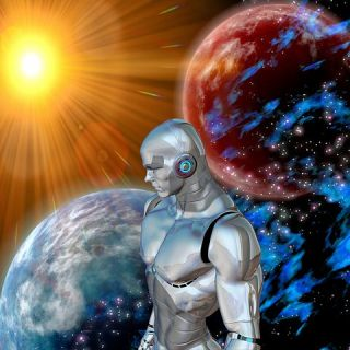 robot man stands facing into the facing overlooking a universe