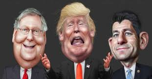 The Three Crooks laughing McConnel, Trump, Ryan. Caricature of the three responsible for the decline of the American Democracy in the face of the Fourth Industrial Revolution. Google Images CCL