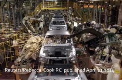 Ford Mustand Production Line. Find the Human. Image via The Atlantic. Reuters/Rebecca Cook RC published April 21, 2014