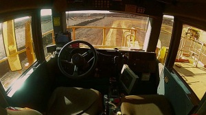 view from the cab of a Rio Tinto Mine Self Driving truck Google Images CCL