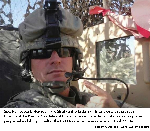 Image of Sgt. Ivan Lopez his in helicopter. Sgt. Lopez killed three people at Ft Hood Army Base on April 2 2014. He then killed himself. Image by Puetro Rico National Guard via Reuters