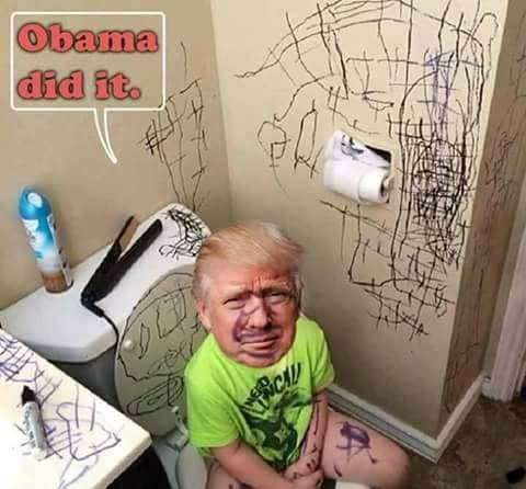 "Trump on his throne. Whining as usual. ""Obama Did it!"" Google Images"