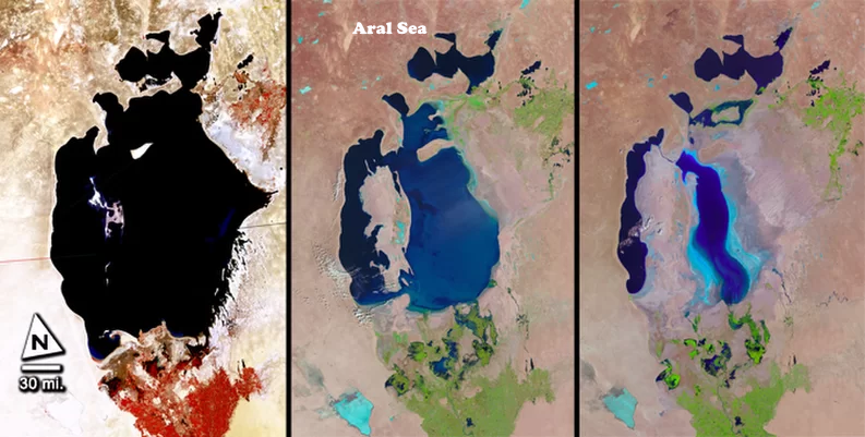 The Aral Sea in Central Asia began disappearing in the 1960s. From left to right the images were produced in 1977, 1998 and 2010 NASA