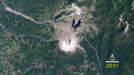 The 1990 Mount St Helens eruption was one of the most significant natural disasters in the past half century in the United States. Landstat witnessed the destruction and the partial re-birth of the region NASA