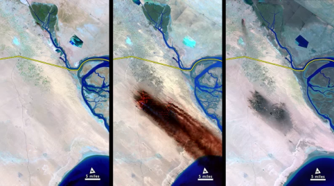 As Iraqi troops withdrew from Kuwait at the end of the first Gulf War, they set first to over 650 oil wells. Landsat caught the largest oil spill in human history. NASA