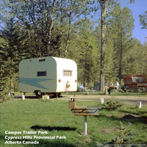 Camper at Camper Trailer Park Cypress Hills Provincial Park Alberta Canada