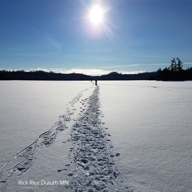 snowshoe trail thru fresh snow - Rich Rice Photographer