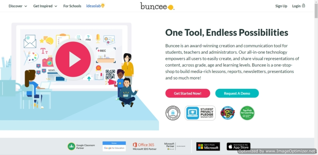IMAGE of young students and a teacher. Image from Buncee promotion materials