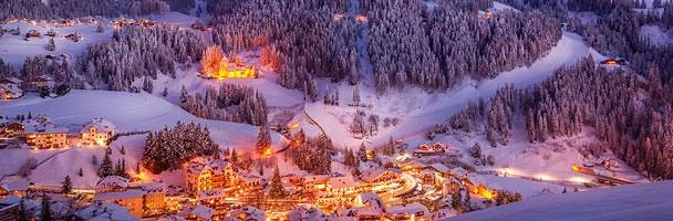 A warm picture of The Valley of the Dolls in the Dolomite Mountains in South Tyrol, Italy. A beautiful winter scene. Image from