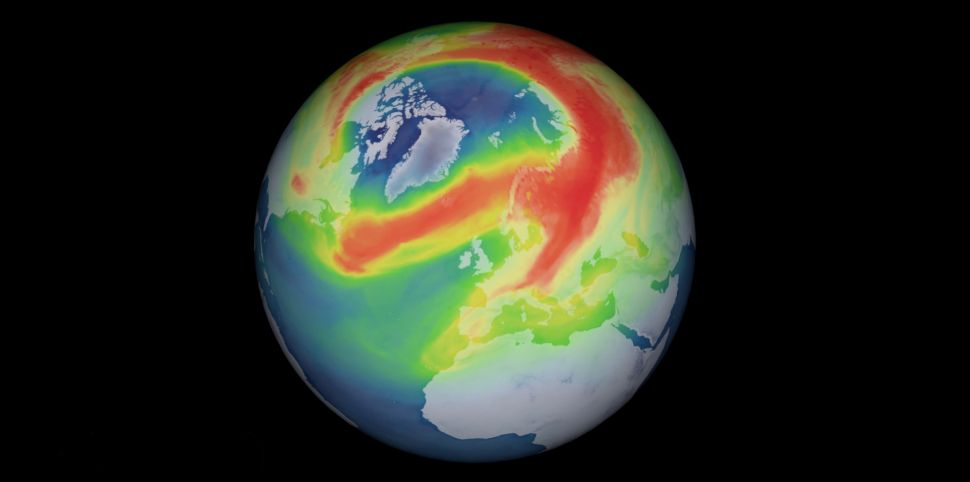 A new ozone hole is opening and spreading over the North Pole. Image European Space Agency