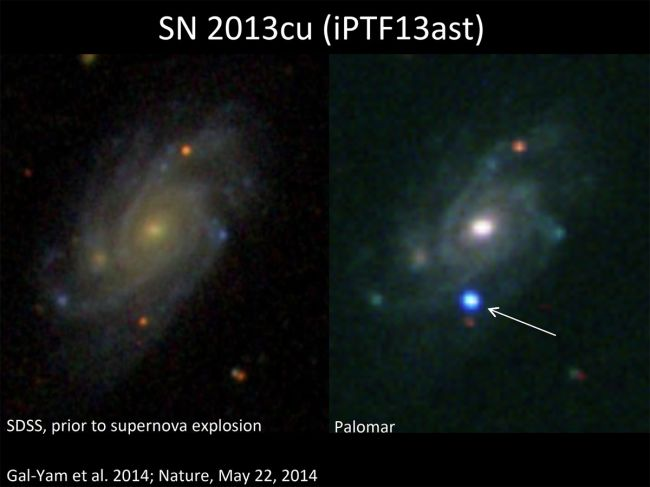 SN 2013CU prior to it exploding into a supernova Image by Gal-Yam at Weizmann Observatory